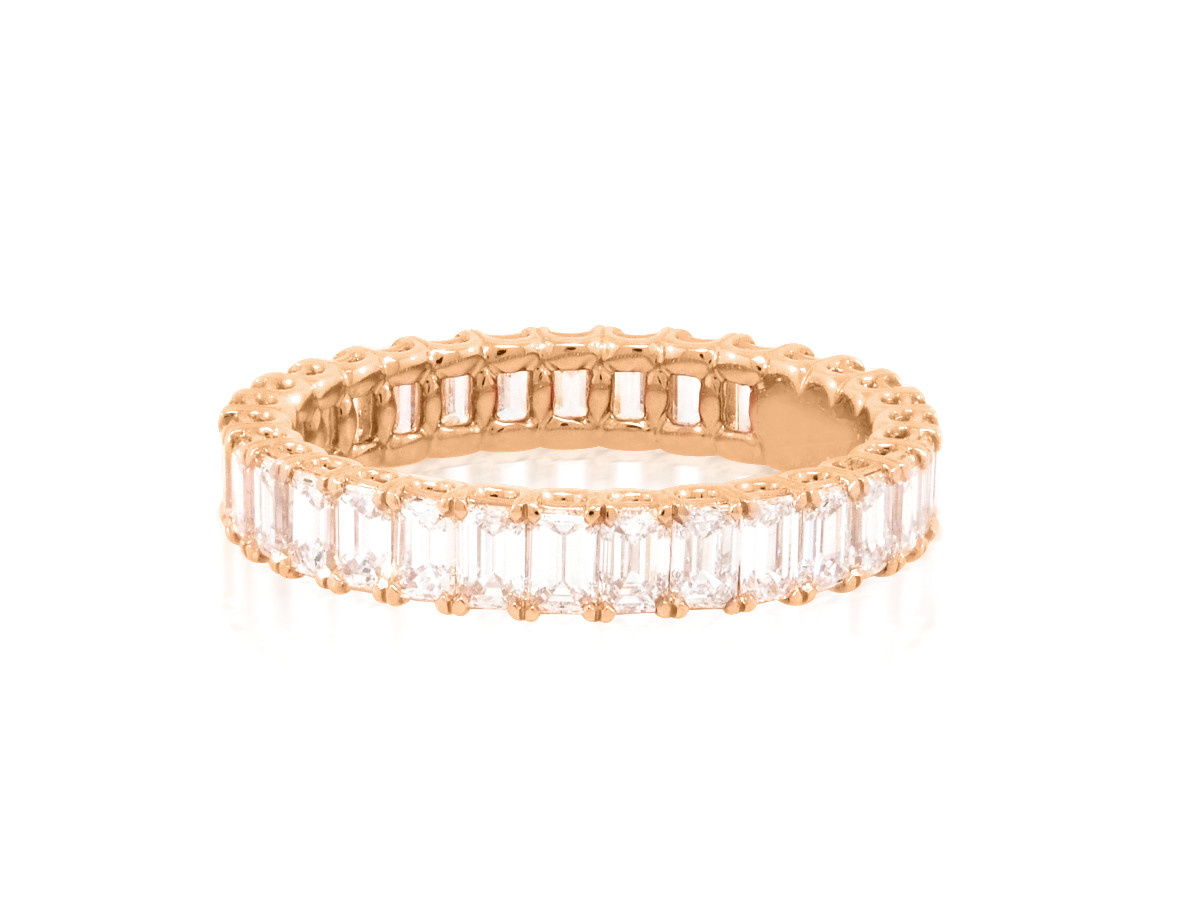 Trabert Goldsmiths Rose Gold Emerald Cut Diamond Eternity Band