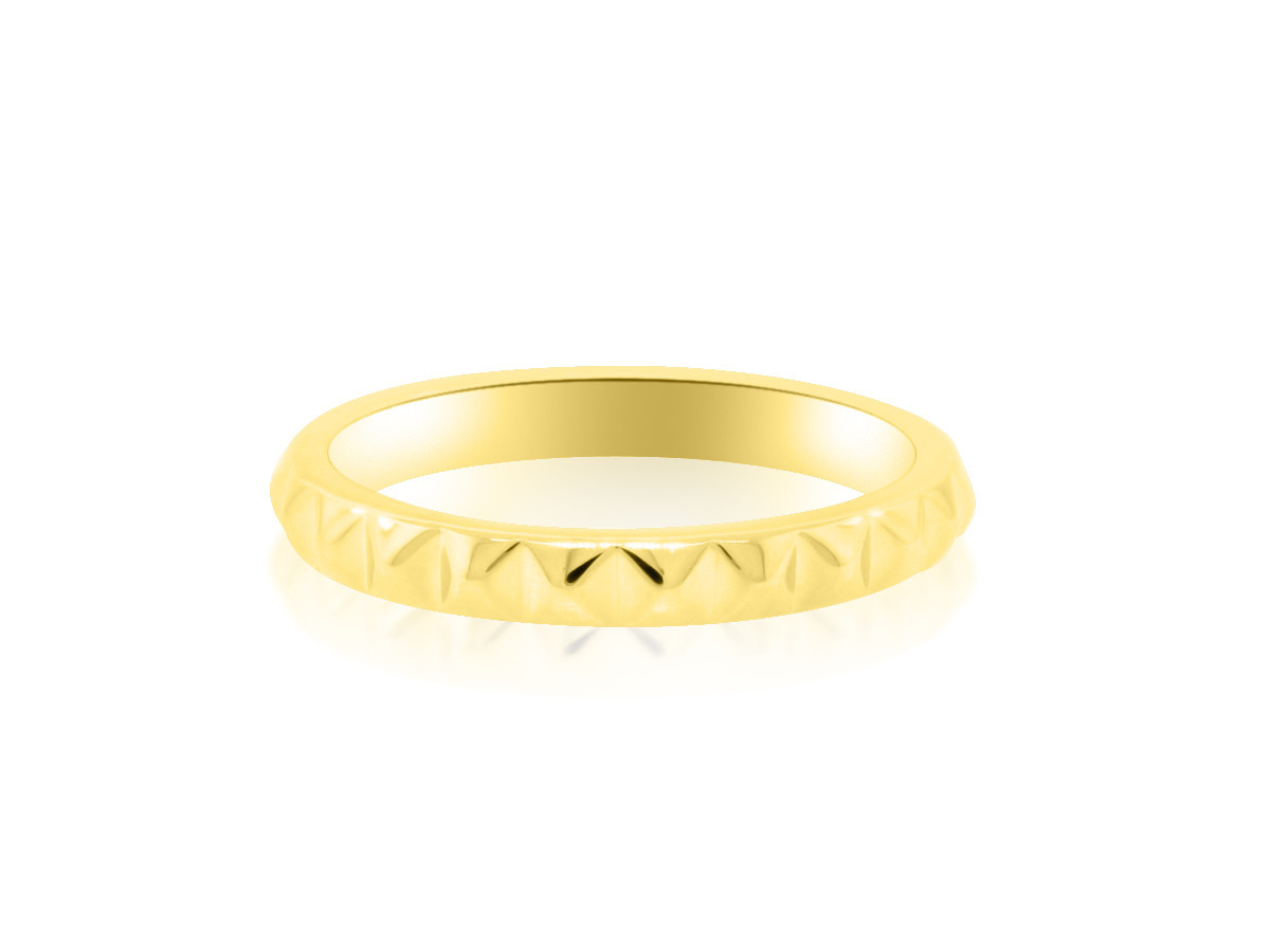 Spike Patterned Gold Band
