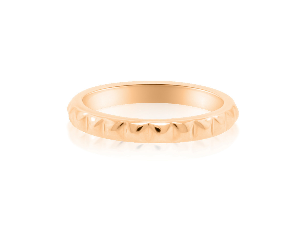 Trabert Goldsmiths Spike Pattern Rose Gold Band