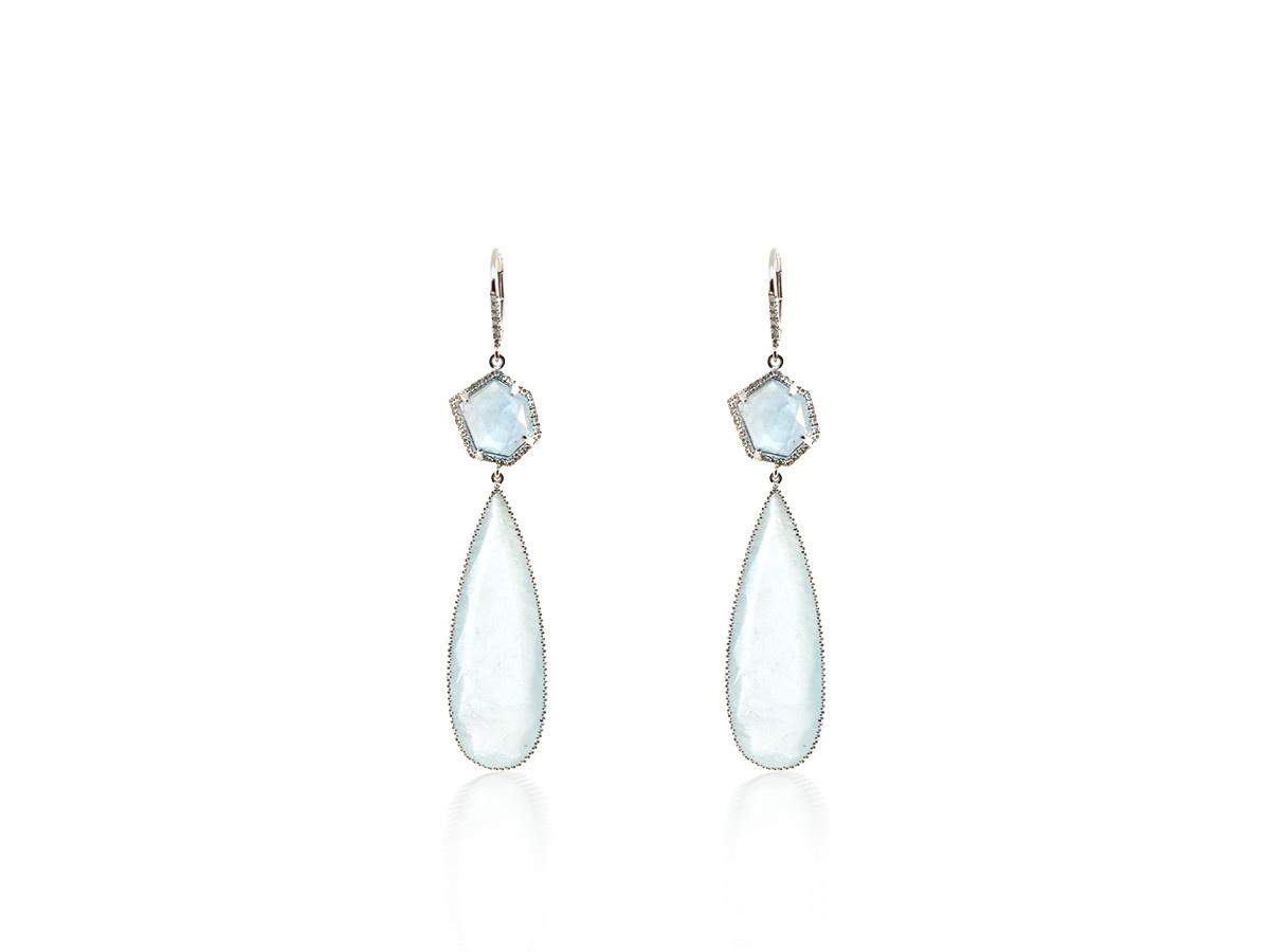 Liven Aquamarine And Diamond Drop Earrings