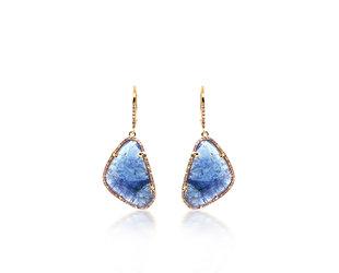 Tanzanite And Diamond Pave Drop Earrings LN86