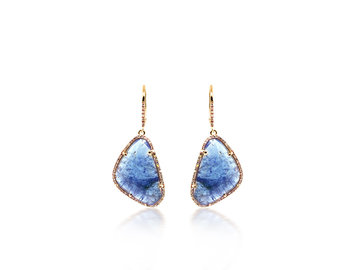 Liven Tanzanite And Diamond Pave Drop Earrings LN86