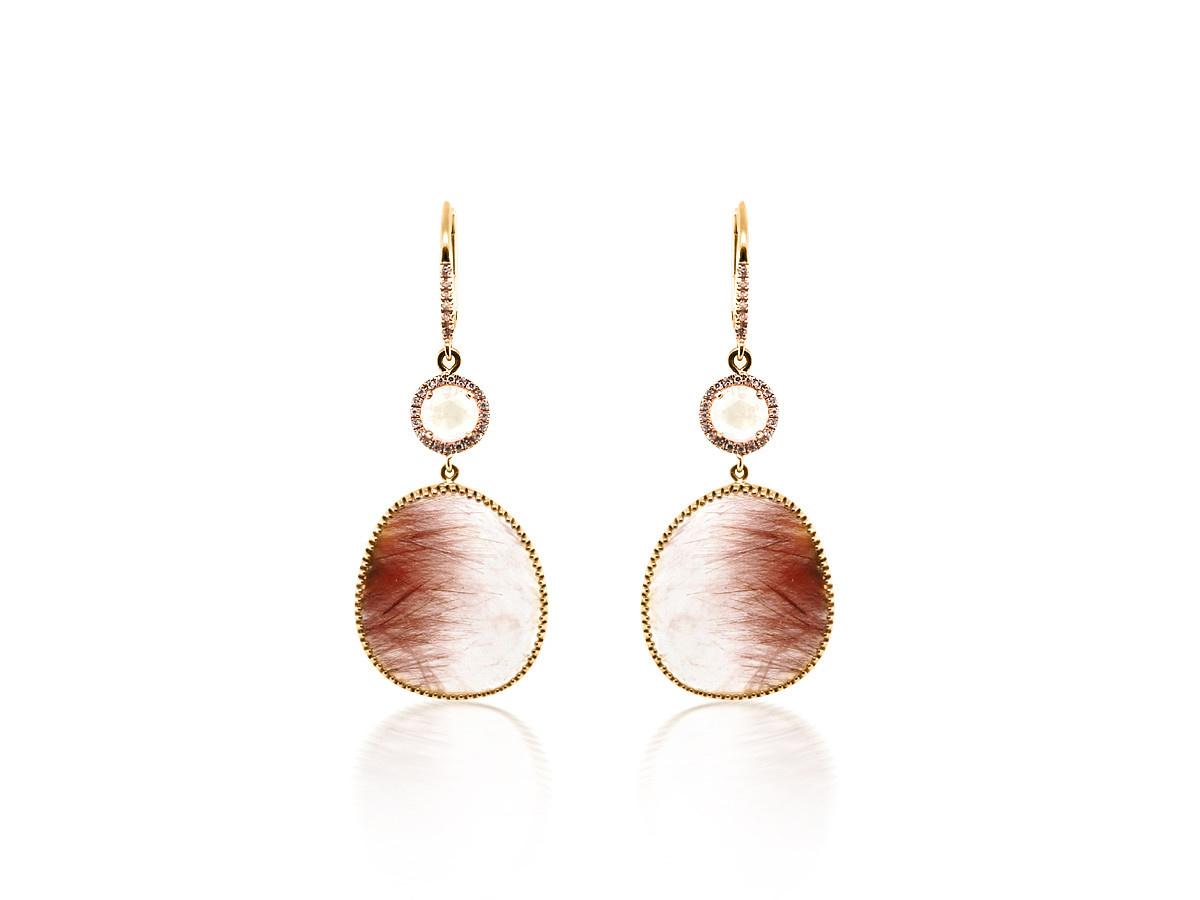 Rutilated Quartz Rainbow Moonstone Drop Earrings