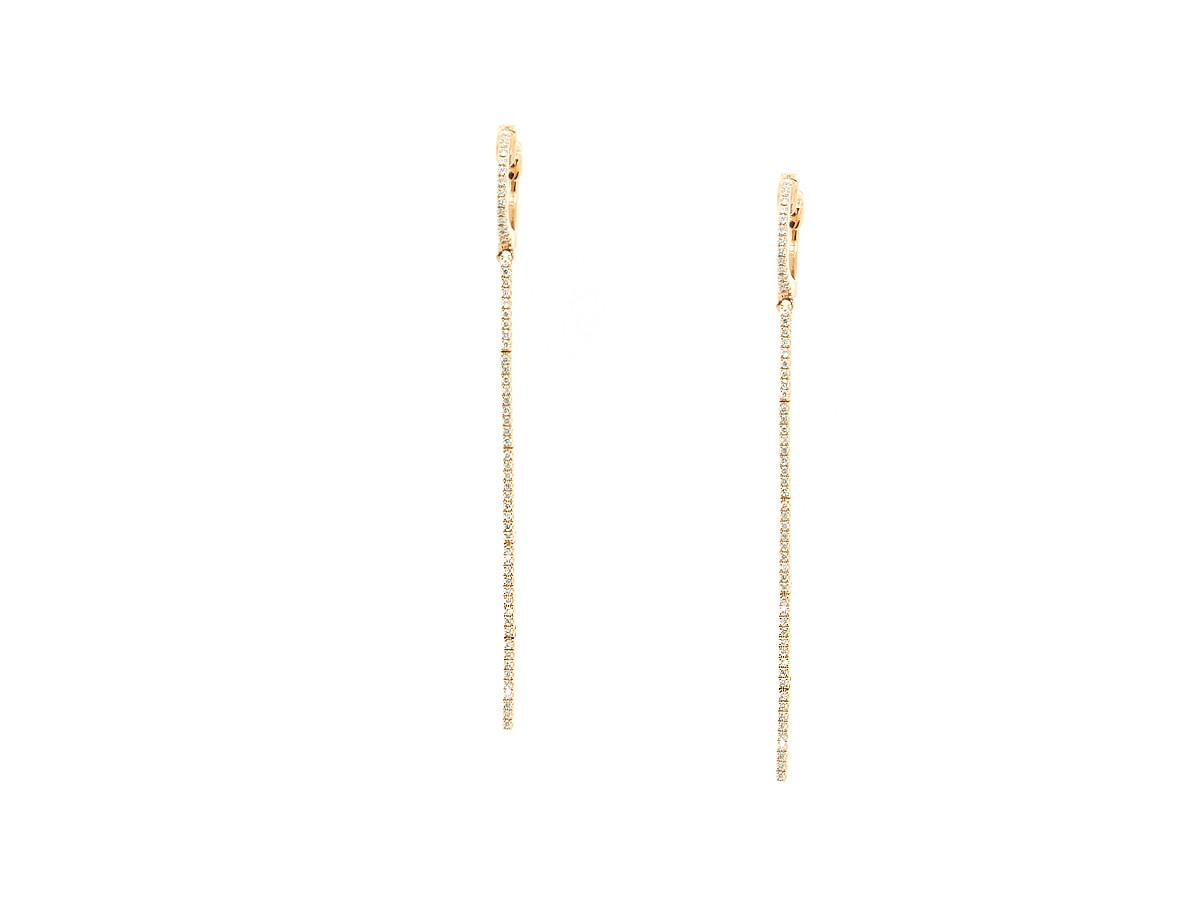 Trabert Goldsmiths Pave Diamond Hoop Stick Earrings