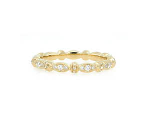 Beverley K Collection Marquise Patterned Pave Gold Band AB499