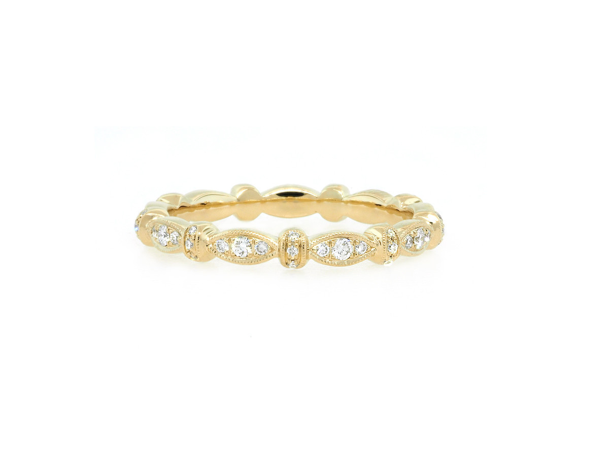 Beverley K Collection Marquise Patterned Pave Gold Band