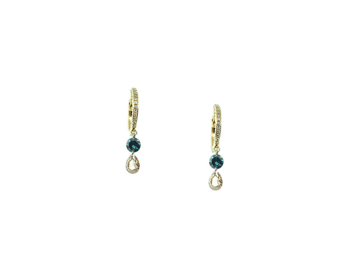 MeiraT Designs Tiny Pave Hoop Teal Diamond Earrings MRT22