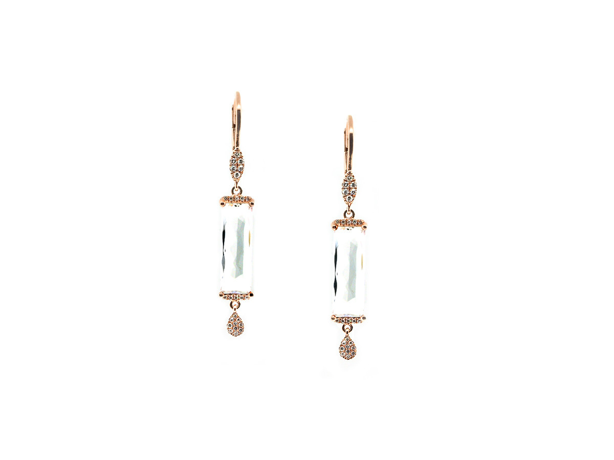 MeiraT Designs White Topaz & Diamond Earrings
