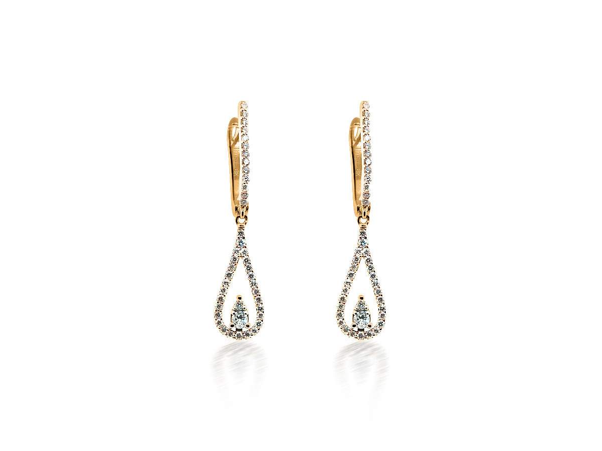 Beverley K Collection Diamond Hoop With Teardrop Diamond Charm