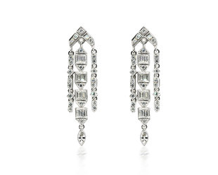 Beverley K Collection Diamond Triple Strand Earrings AB489