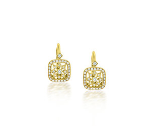 Beverley K Collection Detailed Diamond Leverback Earrings AB493