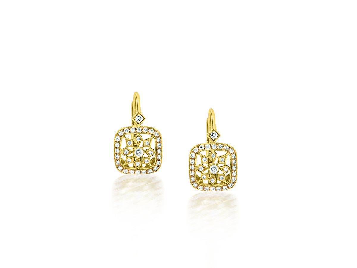 Beverley K Collection Detailed Diamond Leverback Earrings