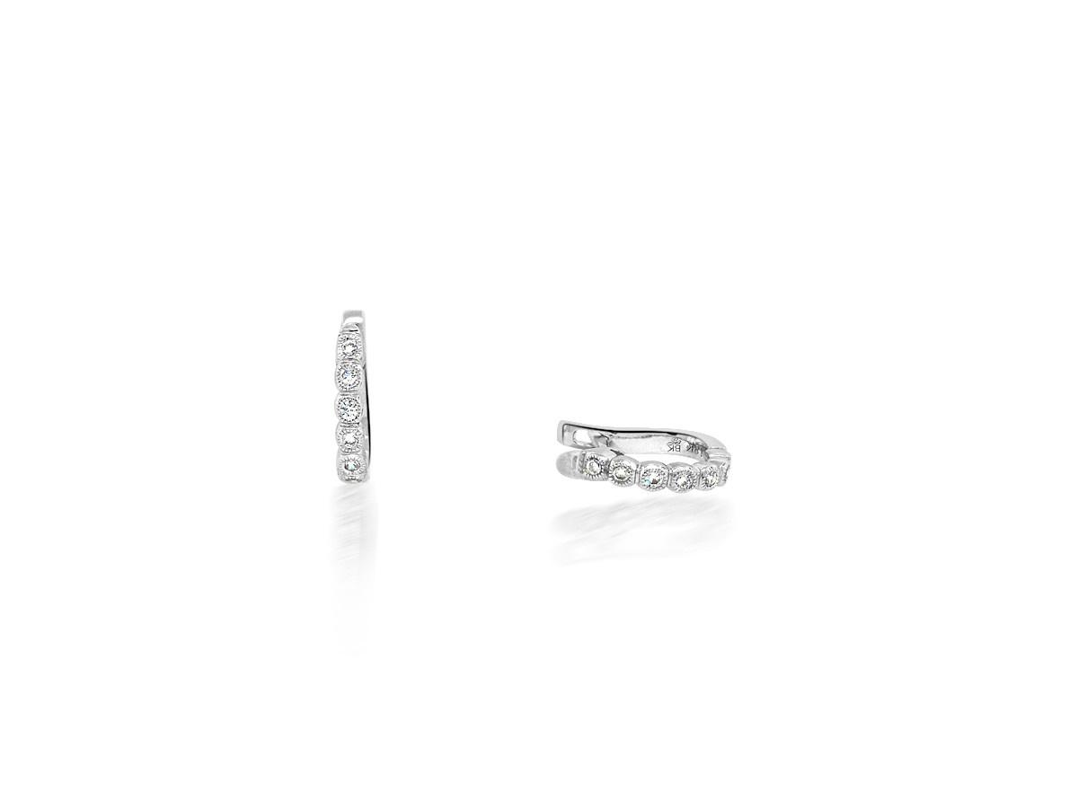 Beverley K Collection Mini Diamond Bezel Hoops