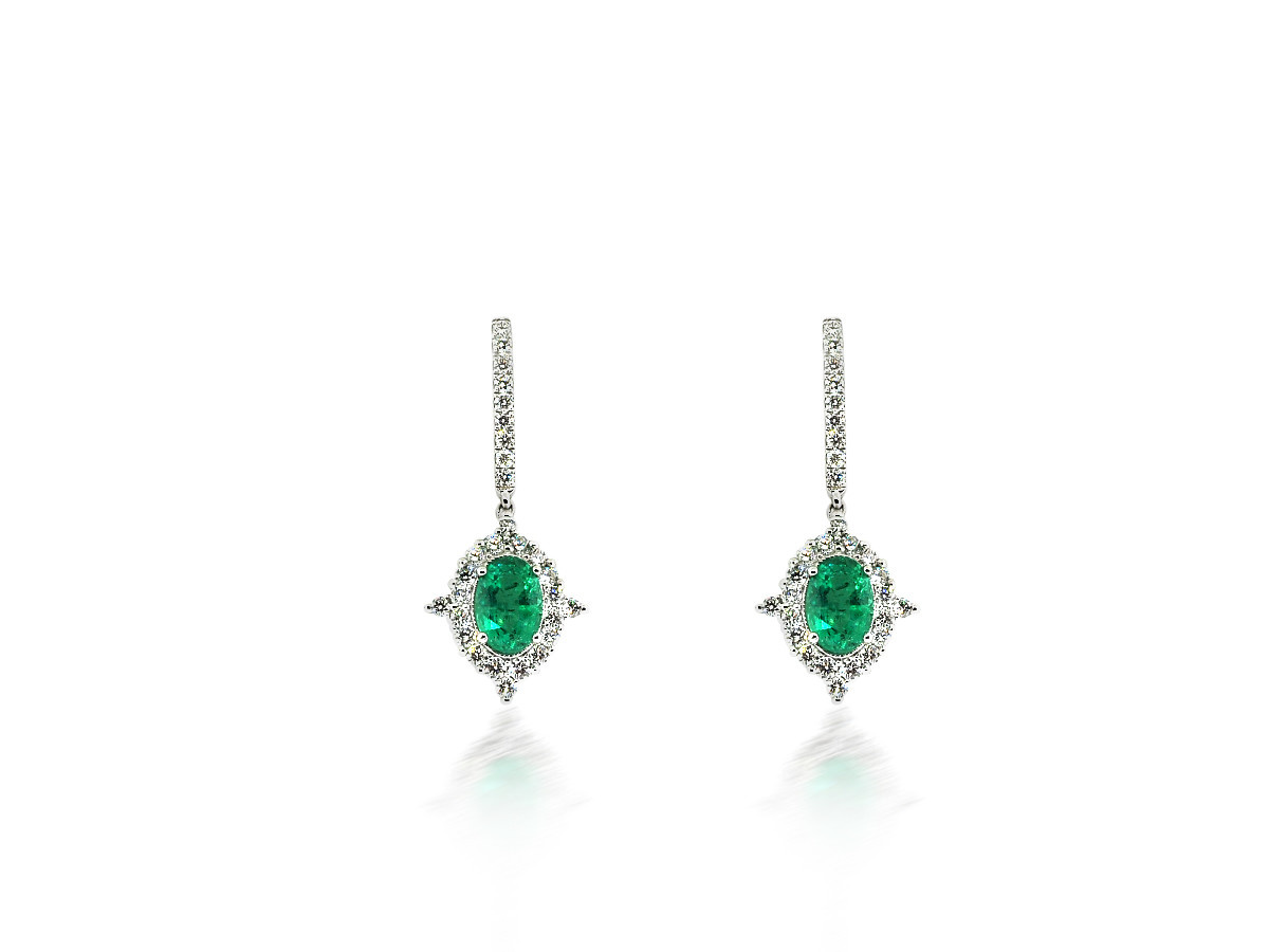 Beverley K Collection Diamond & Emerald Drop Earrings