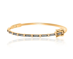 Beverley K Collection Hinged Diamond Rose and Black Gold Bangle AB507