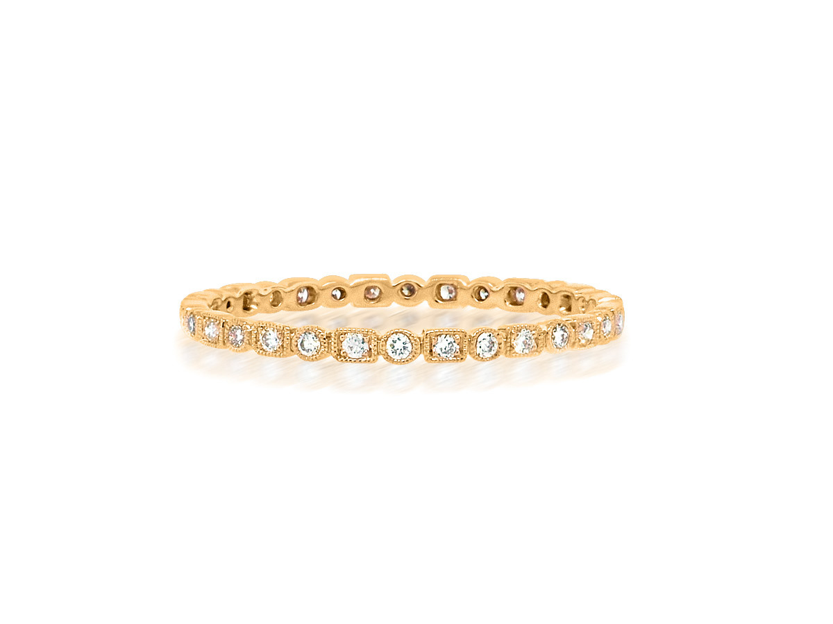 Beverley K Collection Mini Mixed Pave Diamond Rose Gold Band