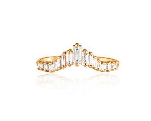 Artëmer Tapered Baguette Dia Rose Gold Tiara Ring AT17