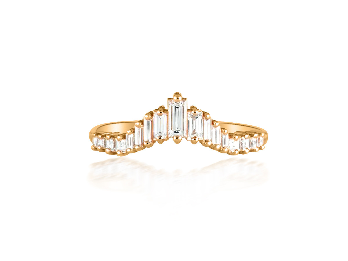 Artëmer Tapered Baguette Diamond Rose Gold Tiara Ring
