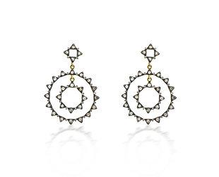 Trabert Goldsmiths Double Circle Rose Cut Diamond Yellow Gold Earrings E2031