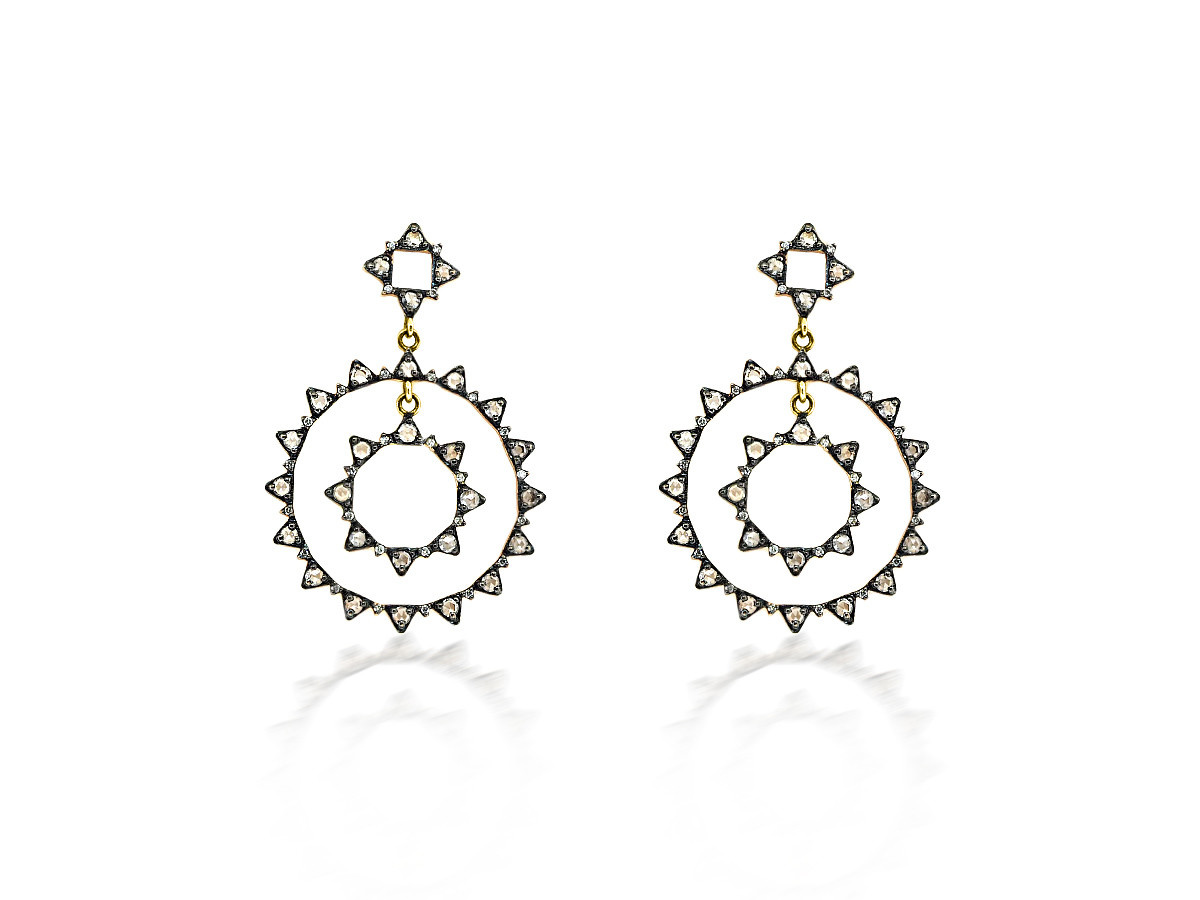 Double Circle  Burst Rose Cut Diamond Yellow Gold Earrings