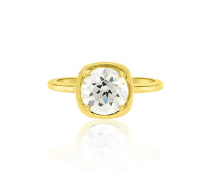 Trabert Goldsmiths 1.58ct LVS2 OE Cut Dia Cushion Illusion Ring E2045