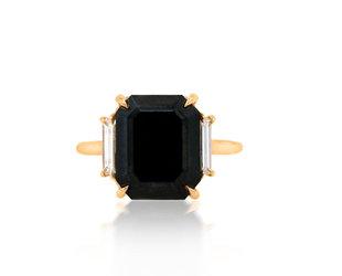 Trabert Goldsmiths 5.51cts Black Emerald Cut Diamond Ring E2058