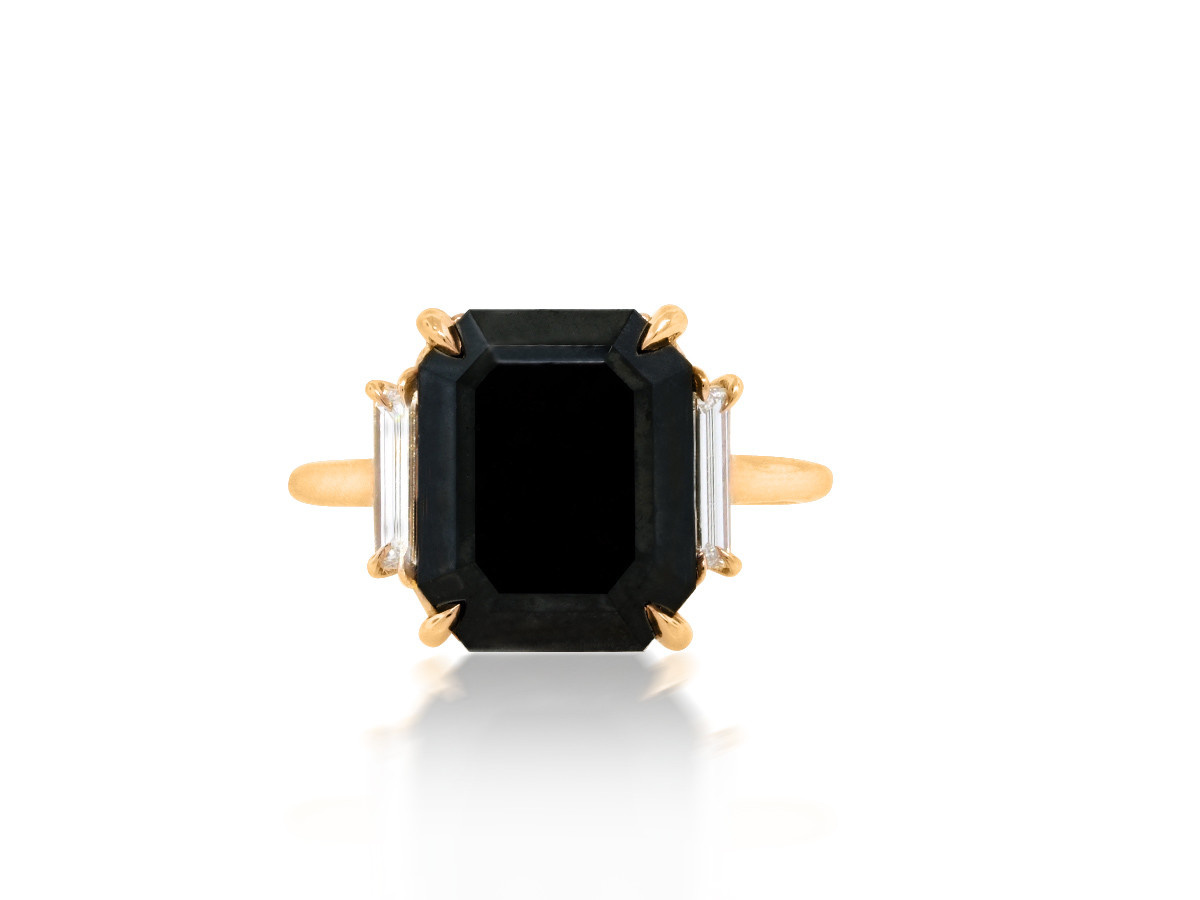 Trabert Goldsmiths 5.51cts Black Emerald Cut Diamond Ring