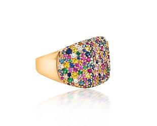 Trabert Goldsmiths Rainbow Sapphire Pave Signet Ring E2066