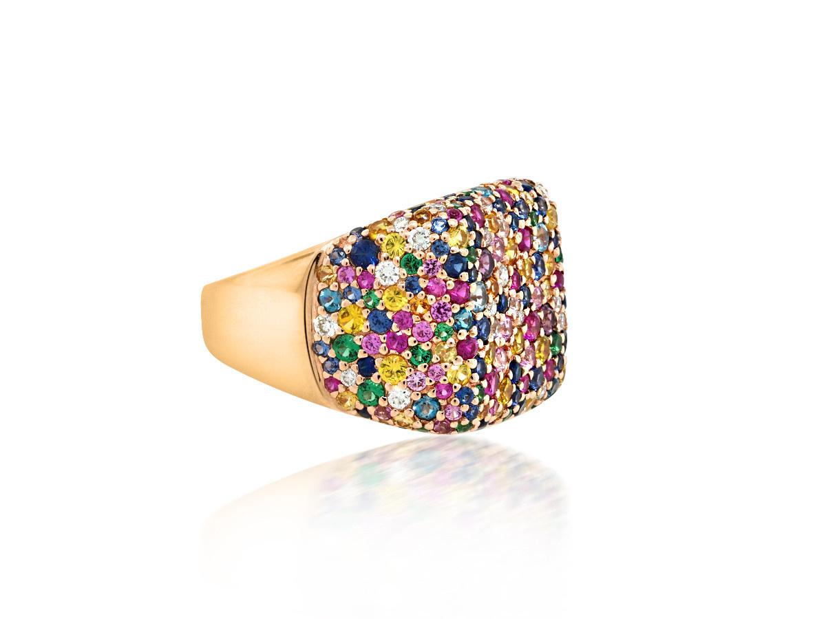 Trabert Goldsmiths Rainbow Sapphire Pave Signet Ring