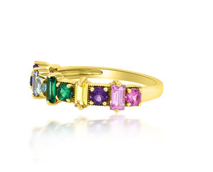 Trabert Goldsmiths Rainbow Sapphire Yellow Gold Ring E2067