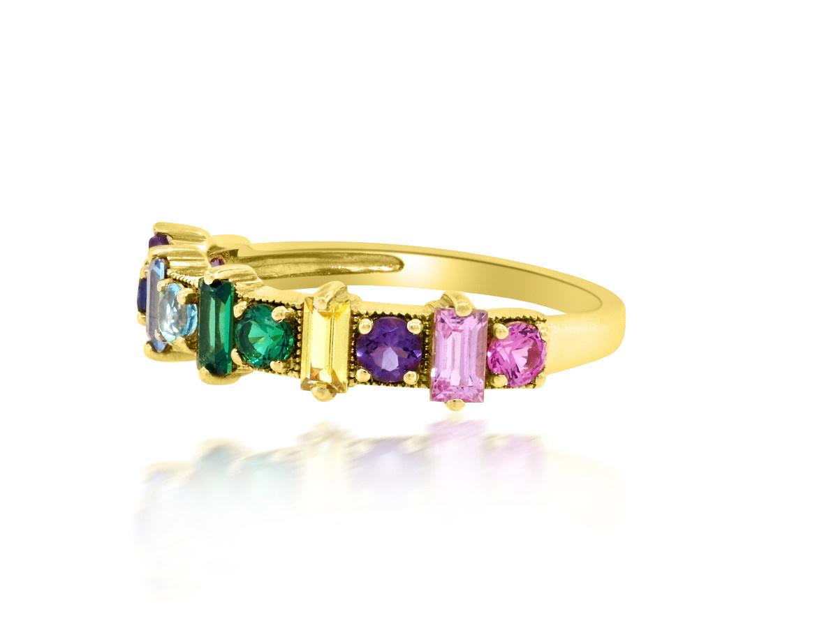 Trabert Goldsmiths Rainbow Sapphire Yellow Gold Ring