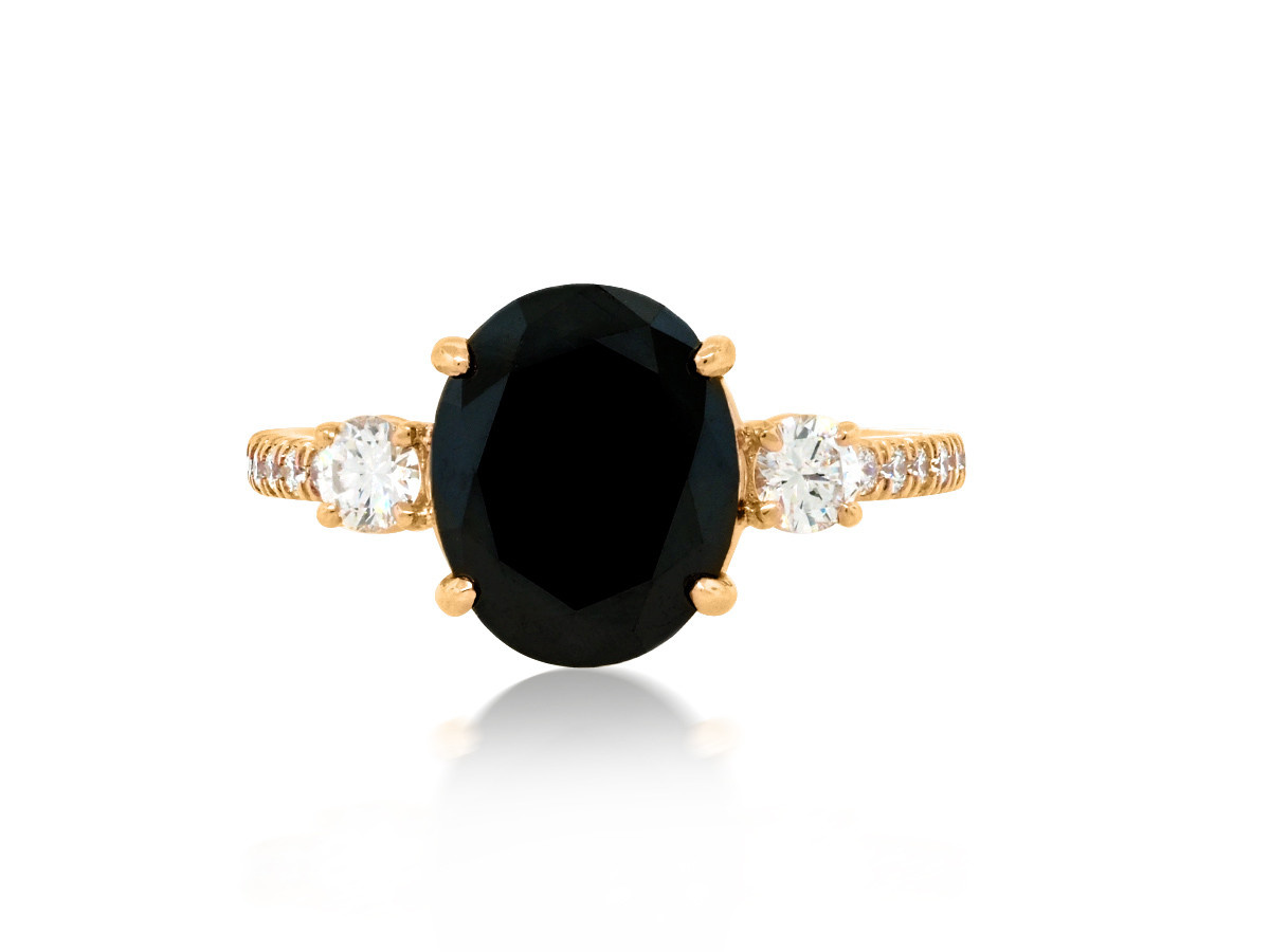 Trabert Goldsmiths Dark Star Oval Black Diamond Ring
