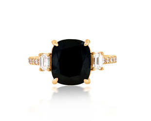 Trabert Goldsmiths 5.05ct Black Cushion Dia Dark Star Ring E2069