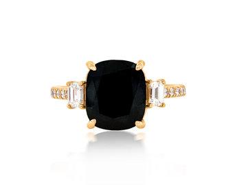 Trabert Goldsmiths 5.05ct Black Cushion Dia Dark Star Ring E2069