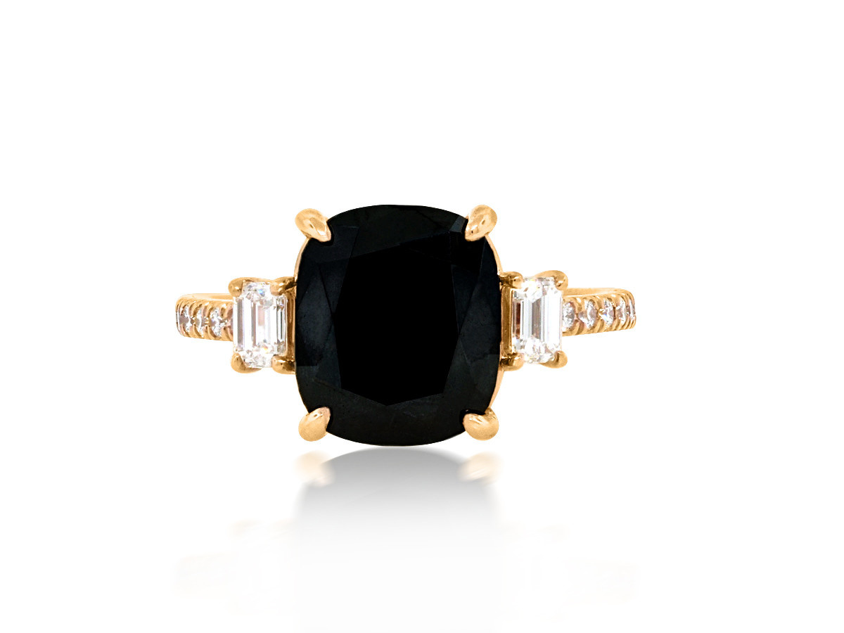 Trabert Goldsmiths 5.05ct Black Cushion Diamond Dark Star Ring