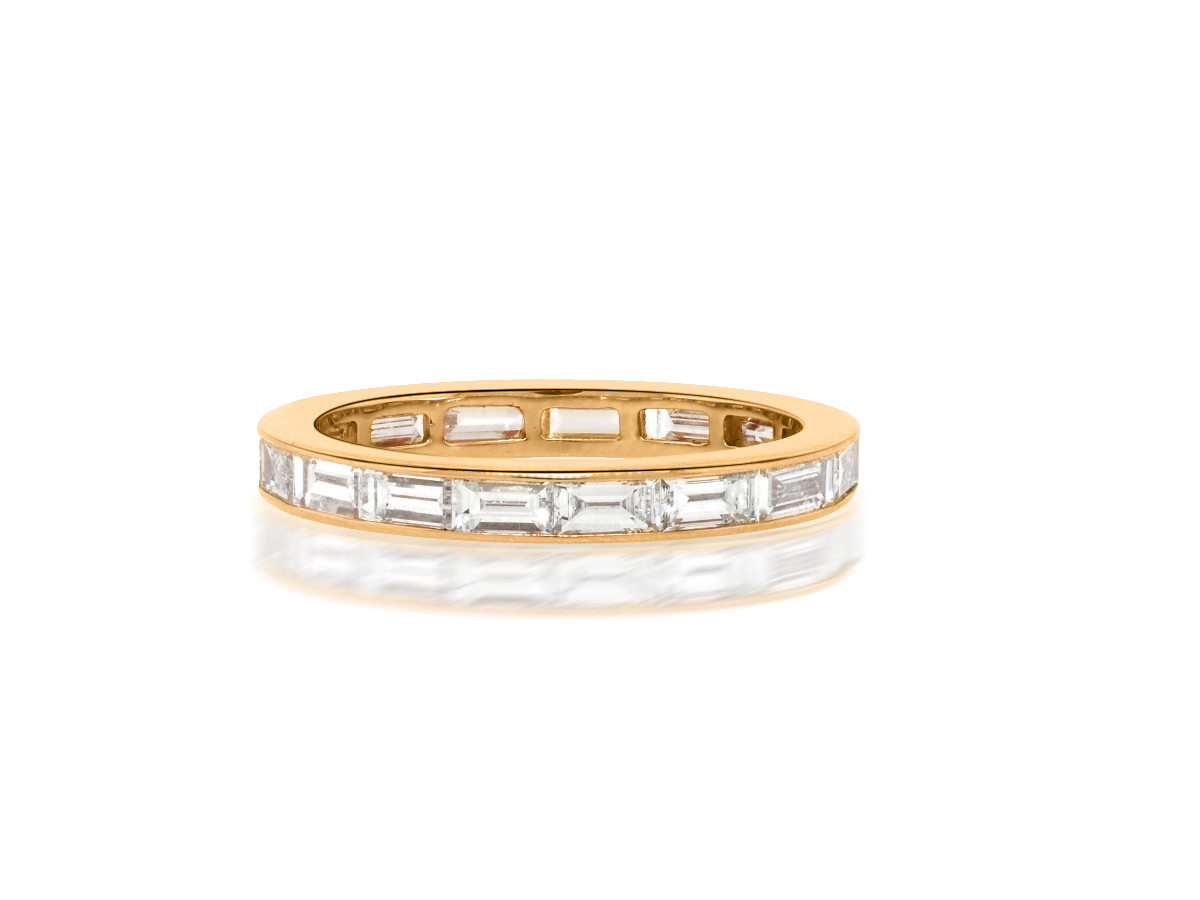 Trabert Goldsmiths Rose Gold Diamond Baguette Wide Band
