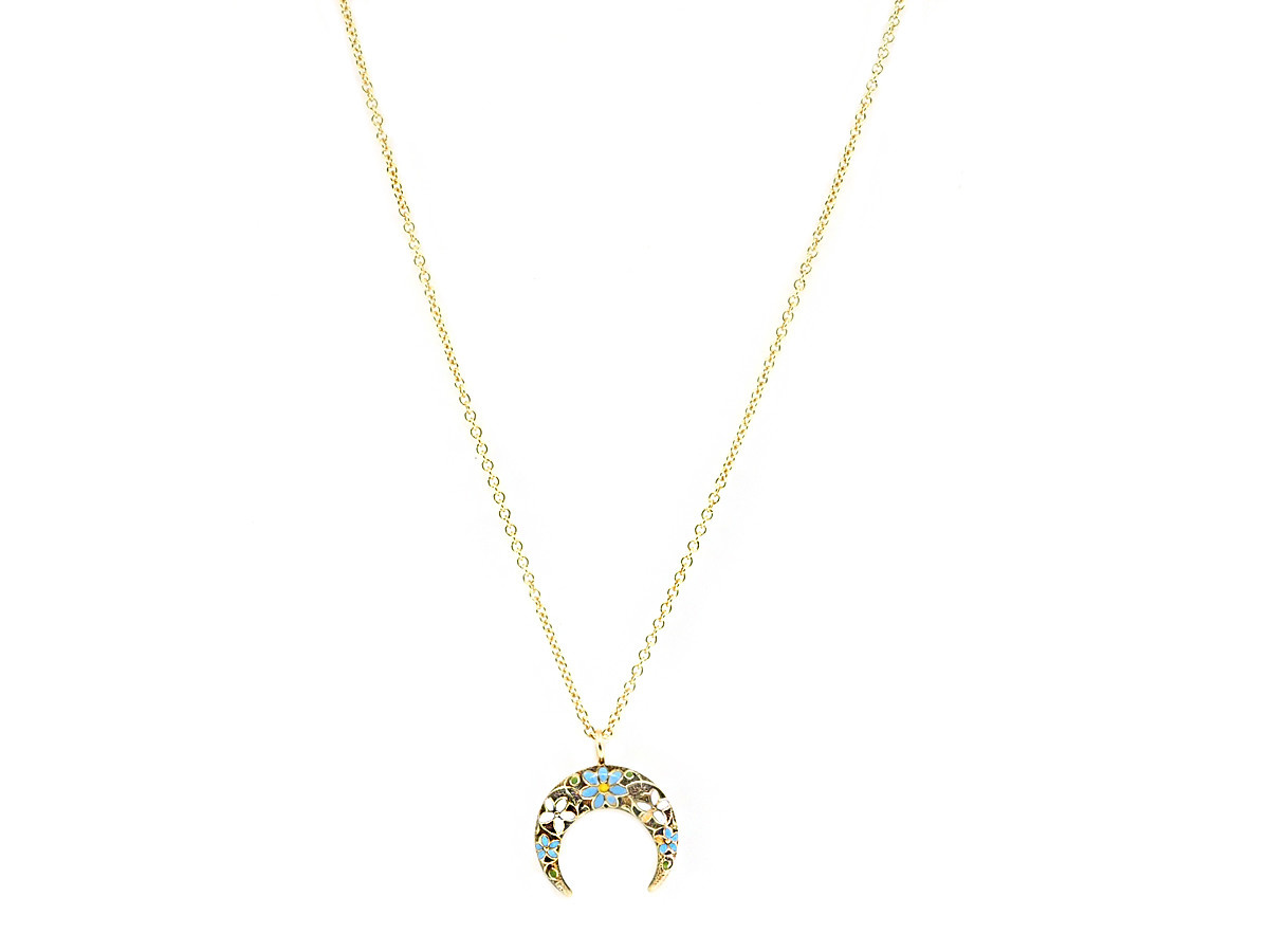 Trabert Goldsmiths Antique Floral Enamel Moon Pendant