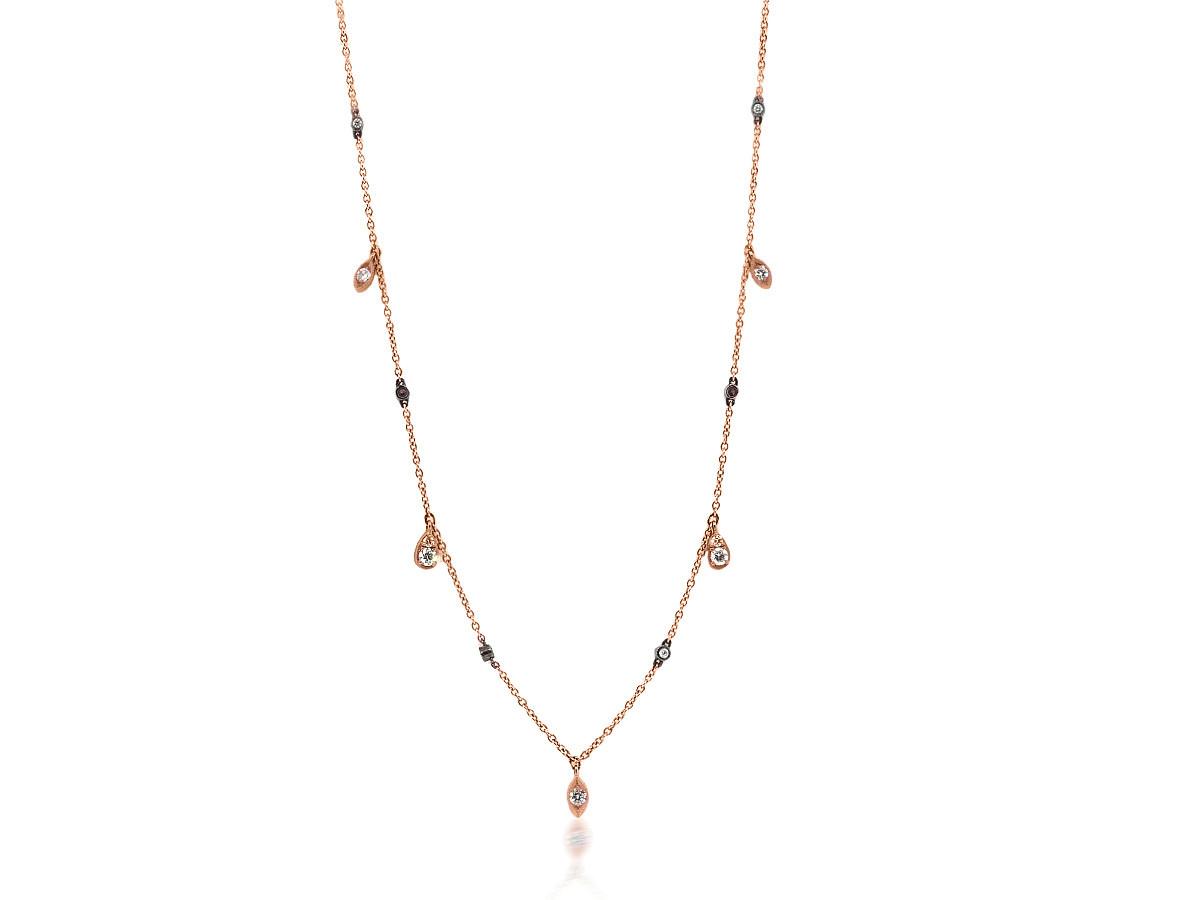 Beverley K Collection Diamond Fringe Rose Gold Necklace