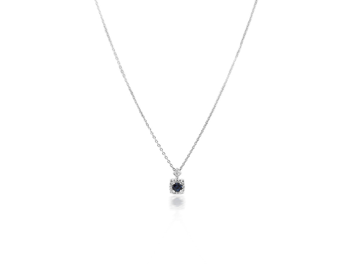 Beverley K Collection Diamond & Sapphire White Gold Pendant