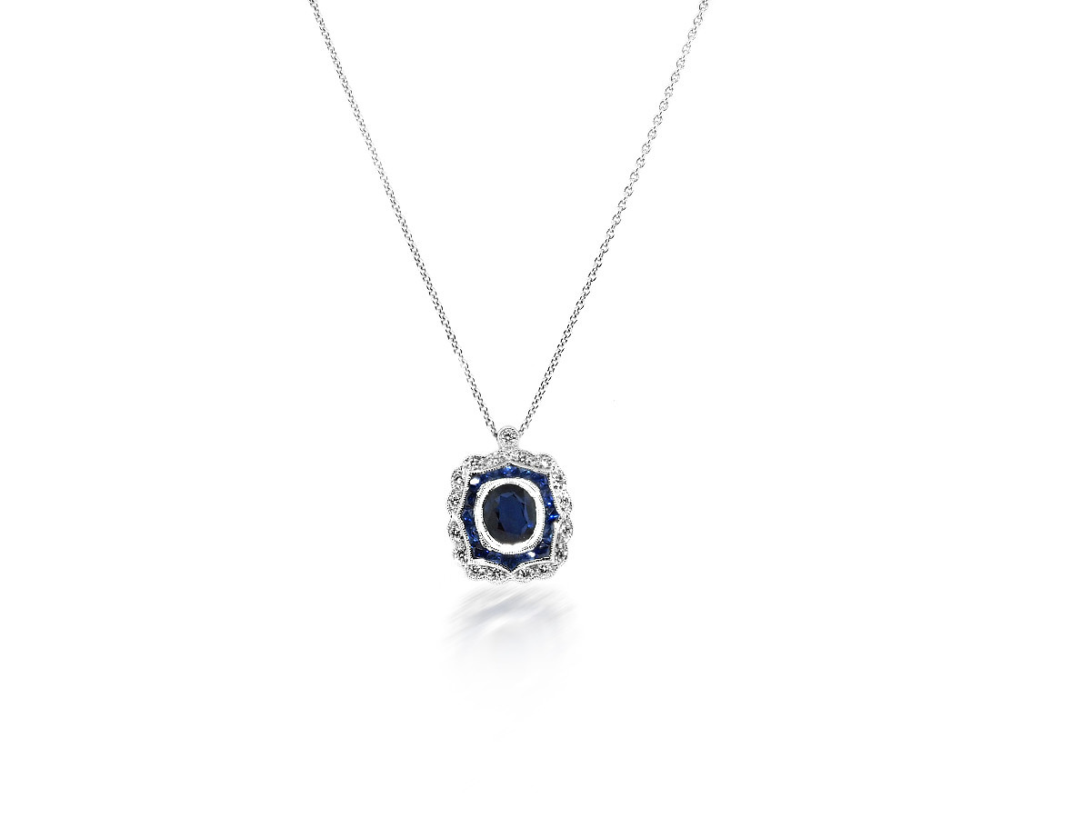 Beverley K Collection Sapphire & Diamond Vintage Inspired Pendant
