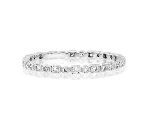 Beverley K Collection Mini Mixed Pave Diamond White Gold Band AB500