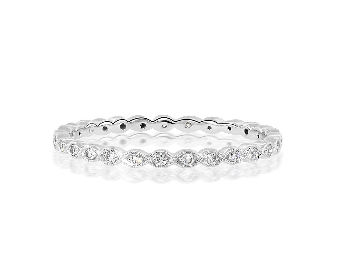 Beverley K Collection Mini Marquise Pave White Gold Eternity Ring