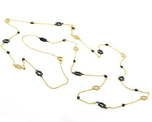 Beverley K Collection Long Hexagonal Pave Black and Gold Necklace AB508