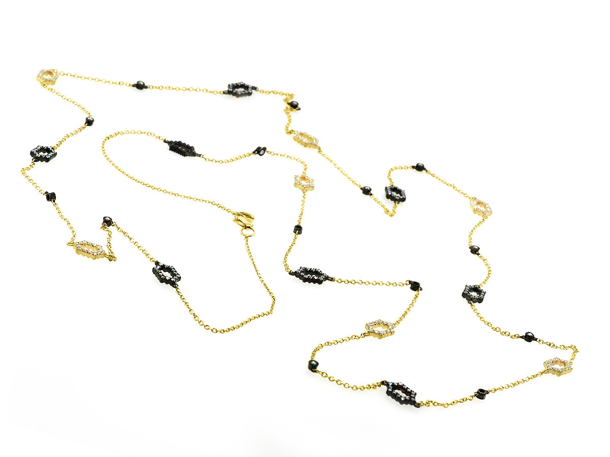 Beverley K Collection Long Hexagonal Pave Black and Gold Necklace