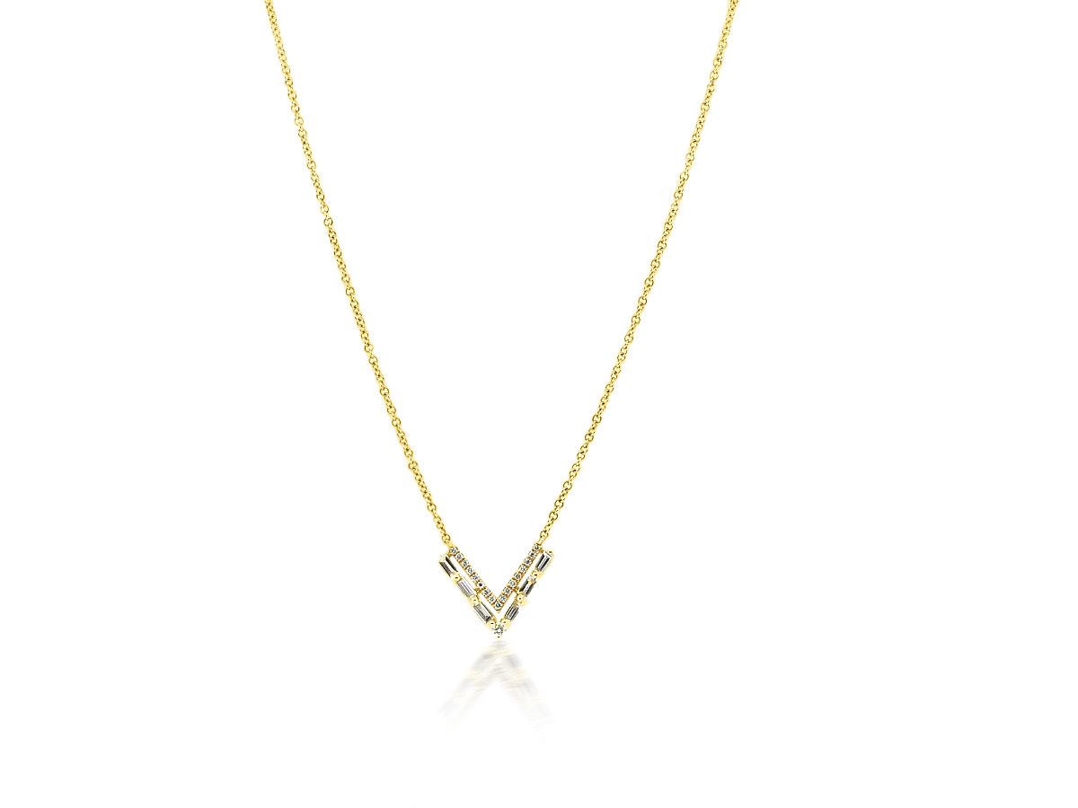Trabert Goldsmiths V Shaped Baguette Diamond Gold Necklace