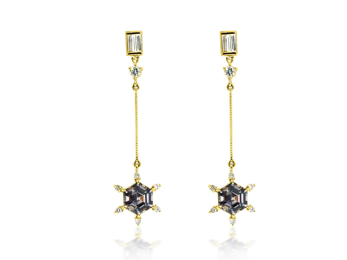 Trabert Goldsmiths Spinel and Diamond Drop Party Earrings
