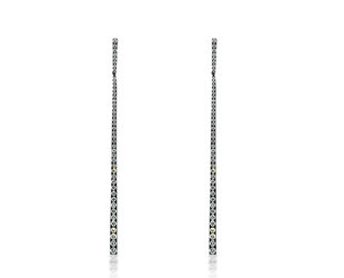 Trabert Goldsmiths Pave Diamond Black Gold Stick Earrings E2052