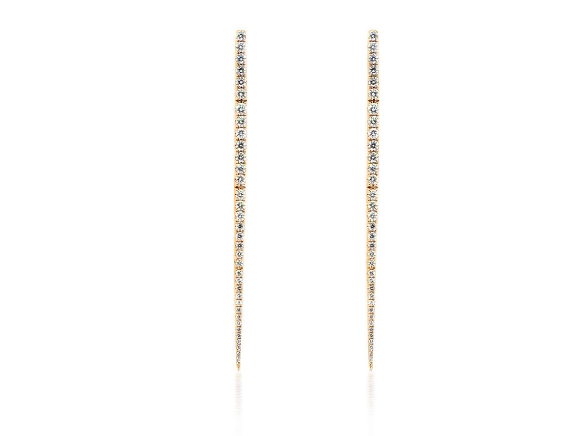 Pave Diamond Dagger Drop Earrings