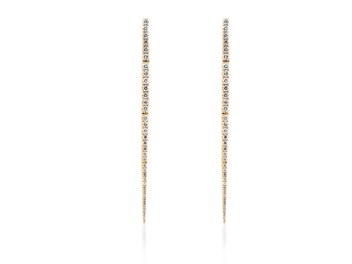 Trabert Goldsmiths Pave Diamond Dagger Drop Earrings