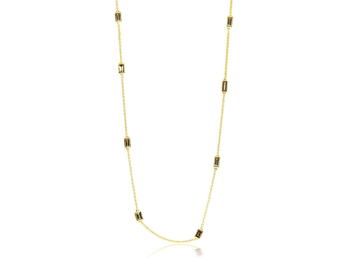 Trabert Goldsmiths 1.53cts Baguette Diamond Bezel DBY Necklace